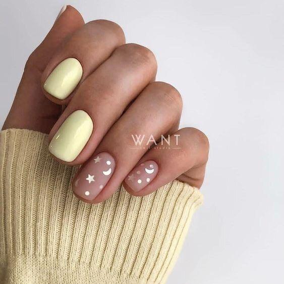 Jasnożółte paznokcie z wzorkiem