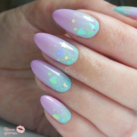 Ombre z pastelowych paznokci