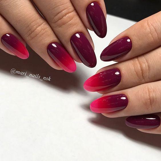 Bordowe paznokcie z ombre