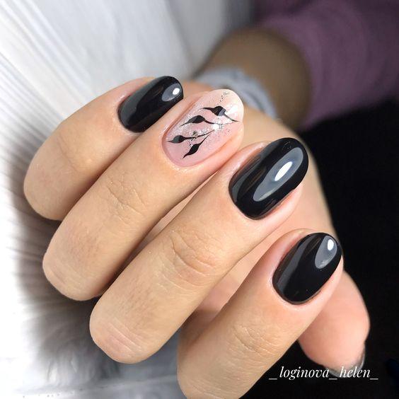 Czarne paznokcie z roślinkami